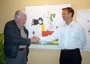 Con Fernando Belaunde Terry, Presidente de la República, Arquitecto y maestro, 1999.
